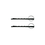 2 Barrettes Hair Pins Fine Twisted Circle 14 mm - Black Painted Metal