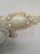 Desire Accessories Handmade Cream & White Soutache & Pearl Haircomb Slide