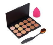 CINEEN Cosmetic Makeup Blusher Toothbrush Curve Foundation Brush + 15 Colours Concealer Platte + 1 Pc Drop Puff