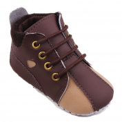 Fides Newborn Baby Boy's Lace-up Premium Soft Sole Infant Prewalker Toddler Hi-top Sneaker Shoes