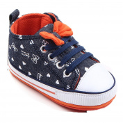 Fides Newborn Baby Boy's Bowknot Premium Soft Sole Infant Prewalker Toddler Canvas Sneaker Shoes