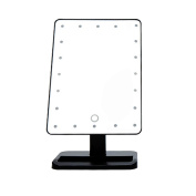 Saeby Desktop Mirror with LED, Lighted Makeup Mirrors 180 Degree Free Rotation Battery Operated Vanity Mirrors