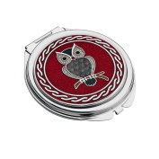 Celtic Owl Silver Plated Compact Mirror - Red