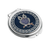 Celtic Owl Silver Plated Compact Mirror - Purple