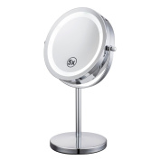 Jeking 18cm LED Table Mirror Silver/Chrome UV Finish 5X Magnification D710-5X Makeup Mirrors Cosmetic Beauty With CE Approved