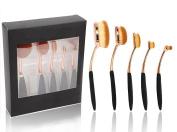 New 5pcs Rose Gold Pro Foundation Brush Set Powder Blusher Women Lady Cosmetic Makeup Face Blusher Soft Toothbrush Design