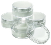 Estilo High Quality Plastic Jars, Cosmetic Containers With Lids 10 Gramme - 25 Count, Clear
