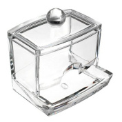 Lalang Clear Acrylic Q-tip Holder Box Cotton Swabs Stick Storage Cosmetic Case