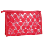 TANG imp Fashion Hollow Lace Women Travel Cosmetic Bag Makeup Pouch Portable Lady Hand-held Storage Bag Toiletry Bag Organiser Zipper Case Red