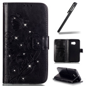 Samsung Galaxy S6 Edge Case,Samsung Galaxy S6 Edge Wallet Case,Samsung Galaxy S6 Edge Flip Case,Ukayfe Embossed Butterfly & Flower Painted Bling Diamond Rhinestone Shiny Premium Solid Black Colour Pu Leather Wallet Magnetic Buckle Design Flip Folio Pro ..