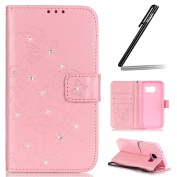 Samsung Galaxy S7 Case,Samsung Galaxy S7 Wallet Case,Samsung Galaxy S7 Flip Case,Ukayfe Embossed Butterfly & Flower Painted Bling Diamond Rhinestone Shiny Premium Solid Pink Colour Pu Leather Wallet Magnetic Buckle Design Flip Folio Protective Case Cov ..