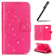 Samsung Galaxy S6 Edge Plus Case,Samsung Galaxy S6 Edge Plus Wallet Case,Samsung Galaxy S6 Edge Plus Flip Case,Ukayfe Embossed Butterfly & Flower Painted Bling Diamond Rhinestone Shiny Premium Solid Hot Pink Colour Pu Leather Wallet Magnetic Buckle Des ..