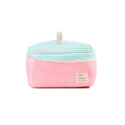 Fieans Fashion Travel Square Cosmetic Make Up Handbag Case Toiletry Bag Hand Bag Tool Storage-Pink Dot