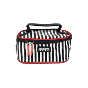 New New York ACB02 Cosmetic Bag in Satin Black and White Stripes, Pack of 1