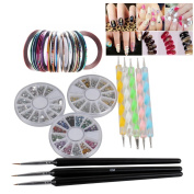 Biutee 3 Wheel Nail Rhinestones + 30Pcs Mixed Colours Nail Rolls Striping Tape Line + 8pcs Pro Acrylic Nail Art Painting Dotting Pen