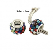 Dreadz Acrylic Silver (Dark) and Rhinestone Hair Beads (5mm Hole) x 2 Bead Pack
