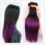 Ombre Purple Human Hair Brazilian Ombre Human Hair Weaves Natural Black to Purple Full Head Straight Human Hair Weaving 300g 36cm
