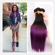 Purple Ombre Hair Black and Purple Cheap Brazilian Straight Hair Weft Weaves .  300g 80cm