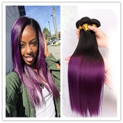 8A Grade Ombre Purple Hair Extensions Brazilian Hair 3 Bundles Straight Wave 2 Tone Unprocessed Human Hair Weave 300g 60cm