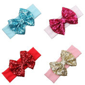 Txian 4PCS Sweet Sequined Bow Headband Soft Cotton Hair Band Photography Headdress For Baby Girls
