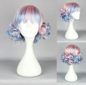 Women's Wig Cosplay Wig Blue mix curly Pink Fringe with 30 cm