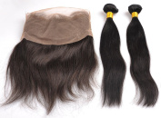 360 Full Lace Band Frontal Closure With 2 Human Hair Bundles 9A Brazilian Virgin Hair Straight With 360 Front Closure With Natural Hairline -16 18 20+36cm