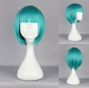 Women's Wig Cosplay Wig Straight Fringe with Approx. 30 cm Turquoise