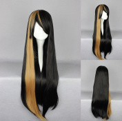 Women's Wig Cosplay Wig Black With Blonde Strands Straight 75 cm