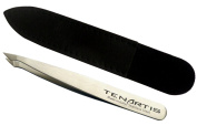Pointed Slant Hair Tweezers Stainless Steel with Leather Case - Tenartis Made in Italy
