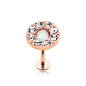 Rose Gold Plated Round White Opal Crystal - 1.2mm x 8mm Labret Stud - For Helix, Tragus, Lip Piercings - Pierced & Modified Body Jewellery