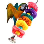 Loofah Sponge Bird Chew Toys Parrot Cage Toys Cockatoo Conure Bite-resistant Toys Handmade Parrot Swing Ladder Toys