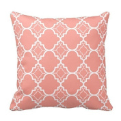 Coral Pink Quatrefoil Geometric Pattern Square Decorative Throw Pillow Cover Cushion Case Two Sides