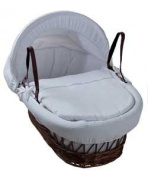 Kinder Valley White Waffle Dark Wicker Moses Basket.