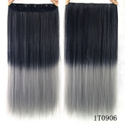 "24"" (60cm) 110G Natural Black to Dark Grey 2-tone Ombre Colour Silky Straight Clip in Hair Extensions One Piece 5Clips for a Full Head"