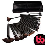 Beauty Bon Professional Makeup Brush Set, 32-Pc Set With Wood Handles, Includes Case