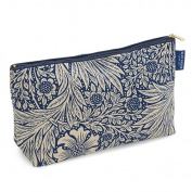 Blue Badge Company Luxury Cotton Toiletries Case Wash Bag with Waterproof Lining, William Morris Marigold Indigo