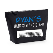 Personalised Name's Hair Styling Stash (With Comb Icon) Men's Wash Bag Toiletries Gift Canvas Case
