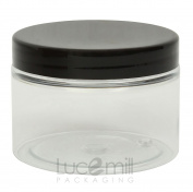 25 x 100mL CLEAR PLASTIC PET COSMETIC SQUAT JARS with BLACK SCREW LIDS for Creams/Liquids/Make Up/Travel/Oils