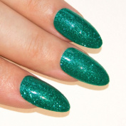 Bling Art Stiletto False Nails Gel Acrylic 24 Green Glitter Medium Tips UK
