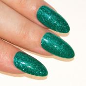 Bling Art Stiletto False Nails Gel Acrylic 24 Green Glitter Medium Tips UK
