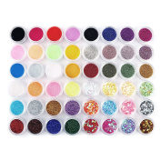 48 SPARKLE GLITTER DUST POWDER HEXAGON NAIL ART DECORATION Face Body Craft