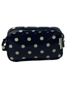 Leonardo Navy Blue Polka Dot Washbag Cosmetics Bag Wipe Clean Oil Cloth