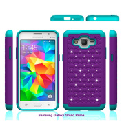 Grand Prime Case, Asstar Shock Absorption Cute Rhinestone Bling Studded Hard & Soft Sturdy Drop Protection 2 in 1 Hybrid Diamond Cover Skin Phone Case for Samsung Galaxy Grand Prime