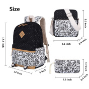 Canvas Backpack School Bags Set for Teens Girls, Casual Daypack + Shoulder Bag + Pencil Case