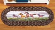 Collections Etc Western Running Horses Braided Accent Rug