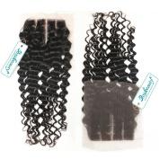 Rosabeauty Lace Closure 3 Part Deep Wave Bleached Knots Swiss Lace 10cm *8.9cm Length 20cm to 46cm 100% Natural Colour Unprocessed Hair