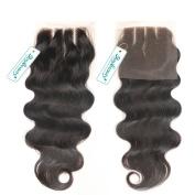 Rosabeauty Lace Closure 3 Part Silky Straight Bleached Knots Swiss Lace 10cm *8.9cm Length 20cm to 46cm 100% Natural Colour Unprocessed Hair