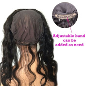 Black Rose Hair 360 Lace Band Frontal Body Wave Remy Human Hair Circle Lace Frontals With Adjustable Cap Natural Colour 46cm
