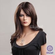 AABABUY New Simulation Wig Dark Brown Long Curly Hair Wig Women Wig Synthetic Wig