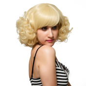 Full Bangs Curly Bob Style Synthetic Blonde Lolita Wig for Women